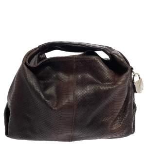 حقيبة فورلا إليزابيث جلد نقشة الثعبان بني داكن