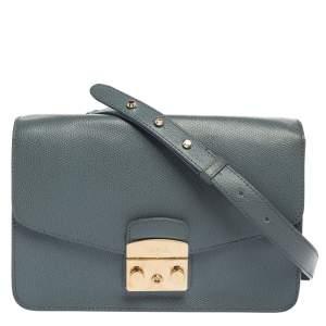 Furla Blue Leather Metropolis Shoulder Bag
