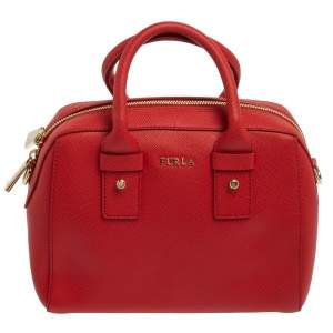 Furla Red Leather Small Allegra Satchel