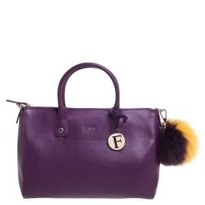 حقيبة يد فورلا ليندا متوسطة جلد بنفسجي