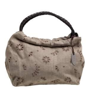 Furla Beige Canvas and Brown Leather Floral Cut Out Shoulder Bag