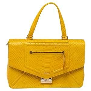 Furla Yellow Python Embossed Leather Alice Top Handle Bag