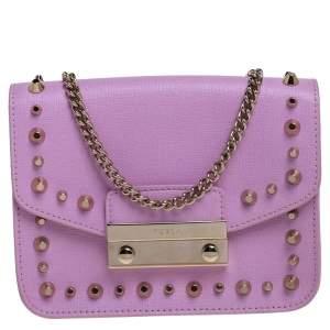 Furla Pink Studded Leather Julia Crossbody Bag