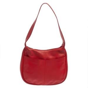حقيبة هوبو فورلا سحاب جلد حمراء