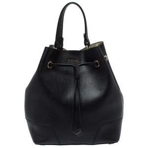 Furla Black Leather Stacy Drawstring Bucket Bag