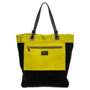 حقيبة فورلا جلد نقشة جلد السحلية وسويدي  أسود/أصفر نيون