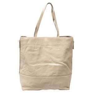 حقيبة فورلا جلد بيج/بني بسحاب جانبي
