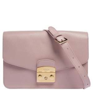 Furla Light Pink Leather Metropolis Crossbody Bag