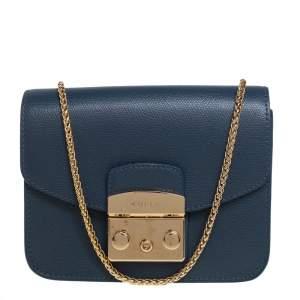 Furla Blue Leather Mini Metropolis Chain Crossbody Bag