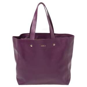 Furla Purple Leather Medium Musa Tote