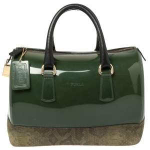 Furla Green Rubber and Pyhton Embossed Leather Medium Candy Satchel