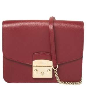 Furla Burgundy Leather Metropolis Crossbody Bag