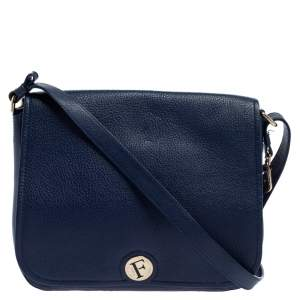 Furla Navy Blue Leather Melody Shoulder Bag