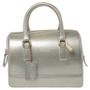 Furla Grey/Silver Shimmering Glossy Rubber Candy Satchel