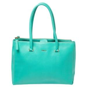 Furla Green Leather Large Lotus Tote