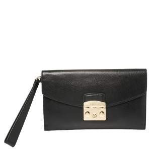 Furla Black Leather Envelope Metropolis Wristlet Clutch