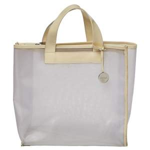 Furla Cream Mesh And Patent Leather Divide It Tote