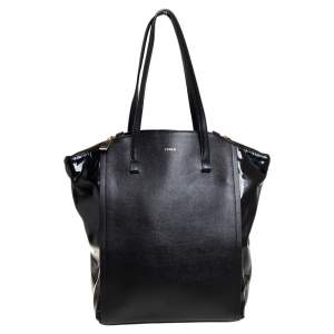 Furla Black Leather and Patent Leather Tote