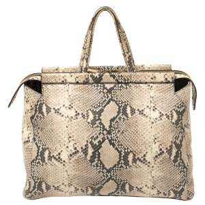 Furla Beige Python Embossed Leather Zip Tote