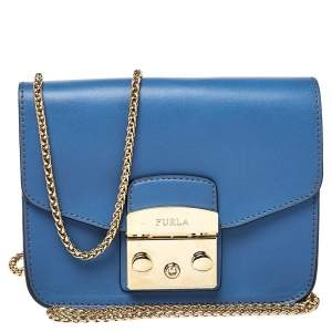 Furla Blue Leather Mini Metropolis Chain Crossbody Bag