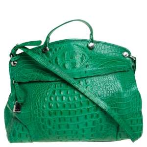 Furla Green Crococodile Embossed Leather Piper Dome Satchel