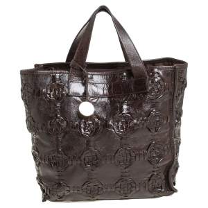 Furla Dark Brown Woven Leather Divide It Tote