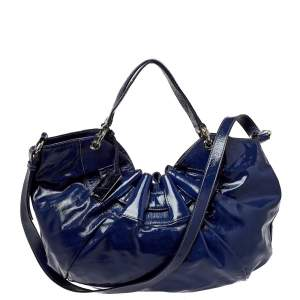 Furla Blue Patent Leather Ninfea Hobo