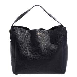 Furla Navy Blue Leather Capriccio Hobo