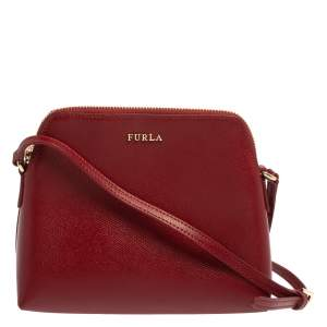 Furla Red Leather Boheme Crossbody Bag