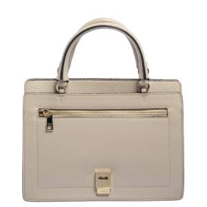 Furla Beige Leather Like Top Handle Bag