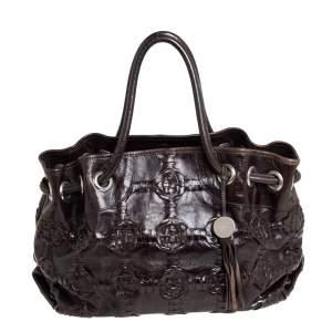 Furla Dark Brown Woven Leather Shoulder Bag