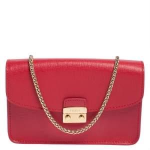 Furla Red Leather Mini Metropolis Crossbody Bag
