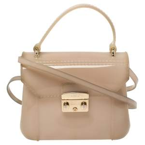 Furla Beige Rubber Metropolis Top Handle Bag