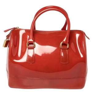 Furla Maroon Rubber Medium Candy Satchel