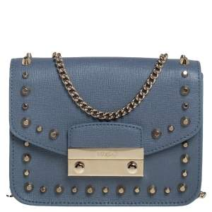 Furla Blue Leather Mini Studded Metropolis Chain Crossbody Bag