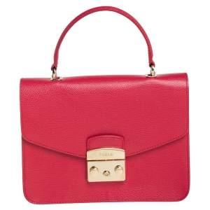 Furla Red Leather Metropolis Top Handle Bag