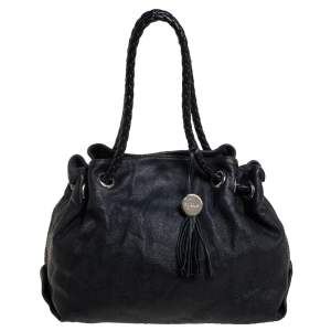 حقيبة يد فورلا مضفر جلد أسود