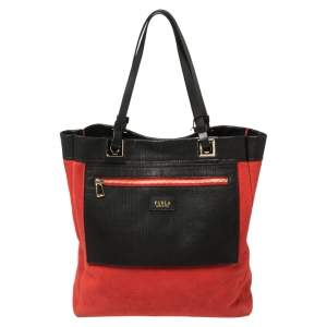 Furla Red/Black Textured Leather and Suede Tote