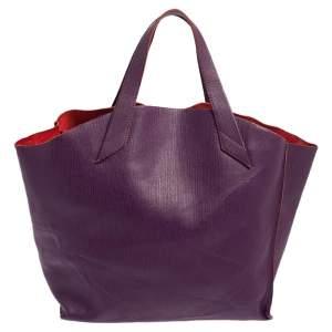 Furla Purple Leather Medium Tote
