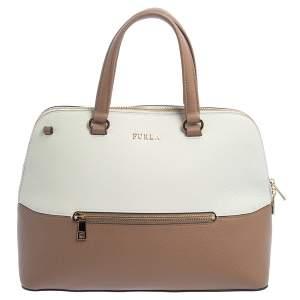 Furla White/Brown Leather Alex Dome Top Handle Bag