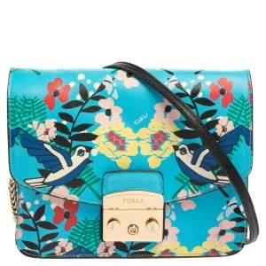 Furla Multicolour Toni Celeste Print Leather Small Metropolis Shoulder Bag