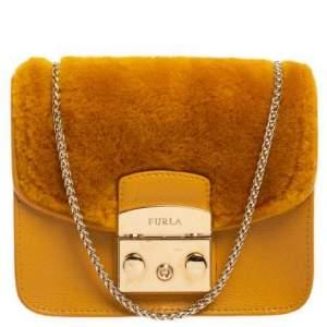 Furla Mustard Leather and Fur Mini Metropolis Crossbody Bag