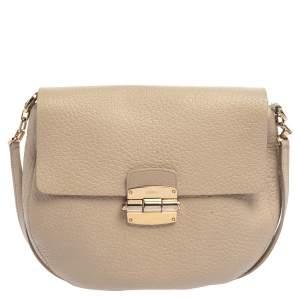 Furla Taupe Grained Leather Club Crossbody Bag