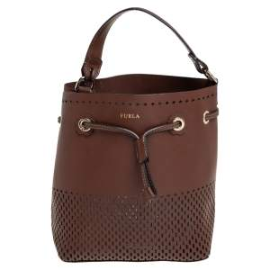Furla Brown Perforated Leather Stacy Drawstring Bucket Bag