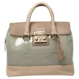 Furla Beige/Mint Green Rubber and Leather Candy Flap Satchel