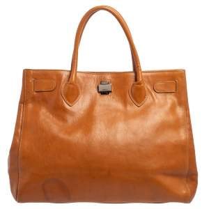 Furla Tan Leather Turn Lock Tote