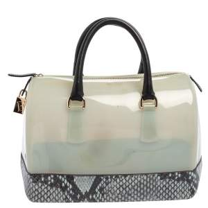 Furla Grey/Black Rubber and Python Embossed Leather Medium Candy Satchel