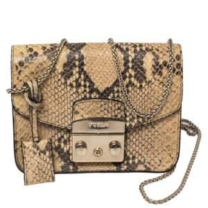 Furla Beige Python Embossed Leather Mini Metropolis Crossbody Bag