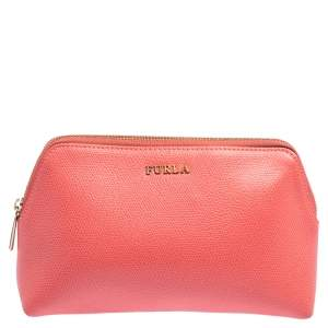 Furla Pink Leather Cosmetic Pouch