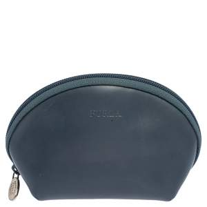 Furla Blue Leather Cosmetic Pouch